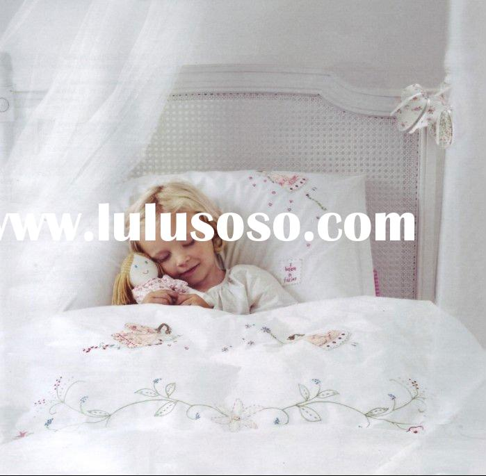 flower fairy -kids embroidery bedding set bed cover sheets