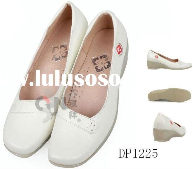 genuine cow leather high quality white color nursing shoes
