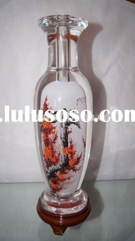 hand painted glass vase round shape with plum blossom picture inside as art craft for crystal vase-