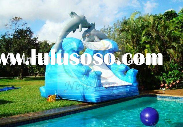 large commercial inflatable water island