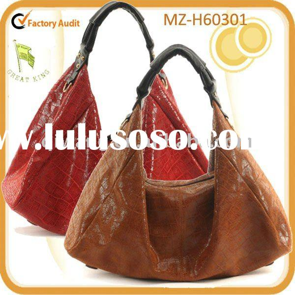large size stylish embossed crocodile skin genuine leather tote bag