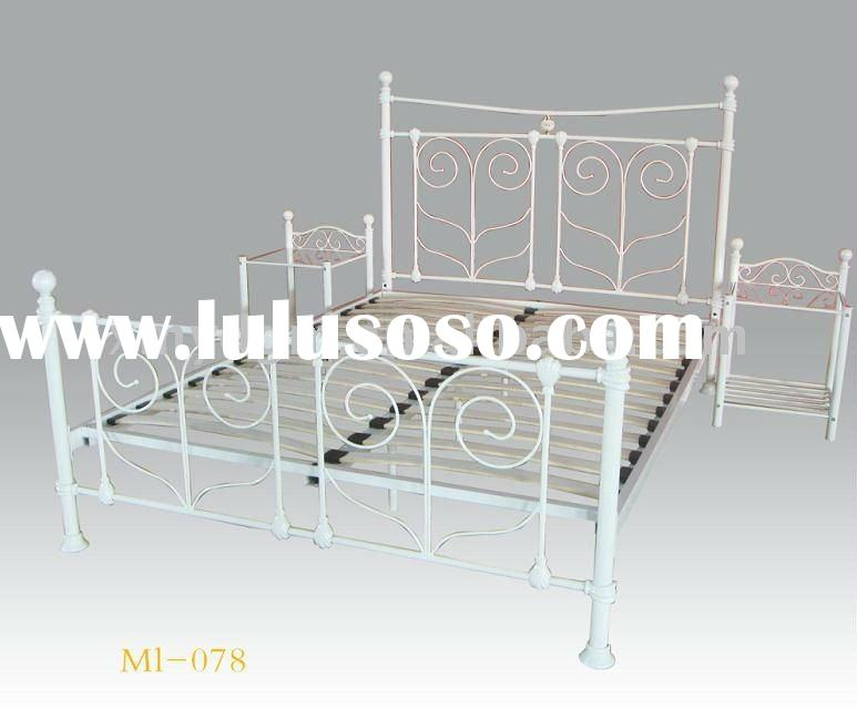 latest bed designs metal white queen size bed (ML-078)