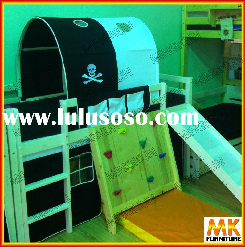 loft bed with climbing wall, slider,ladder