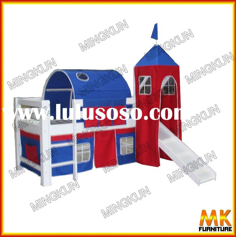 loft bed with tent , slide