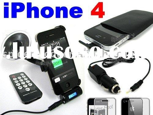mobile phone holder+leather case+FM Transmitter+car charger for iphone 4