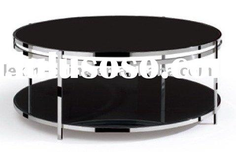 modern metal glass round coffee table