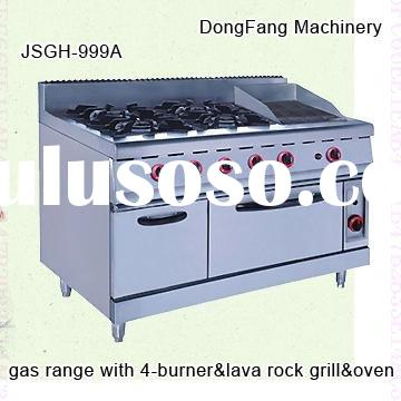 outdoor cooking equipment stainless steel JSGH-996A gas range with burner and lava rock grill and ov