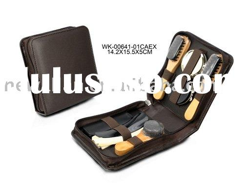 shoe shine kit,PU leather shoe care set,shoe cleaning set(New product--WK-00160-01CDBN)