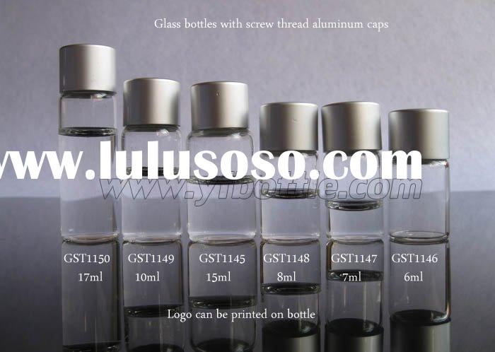 small glass bottle with screw aluminum cap