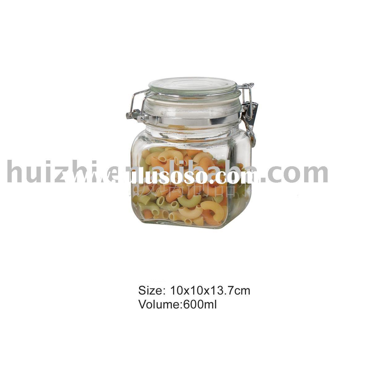 square glass jar with lid