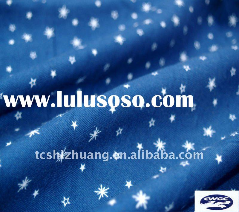 stars printed cotton twill fabric for apparel and bed sheet fabric