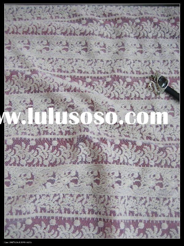 white 100%cotton chemical lace with mesh fabric