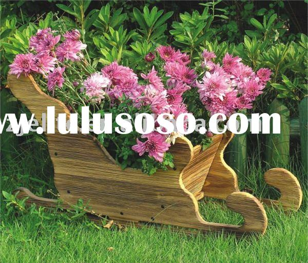 wooden flower barrow, flower planter