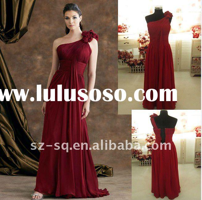 2011 Exquisite Empire One-Shoulder Beaded Ruffle Chiffon Evening Dresses H0776