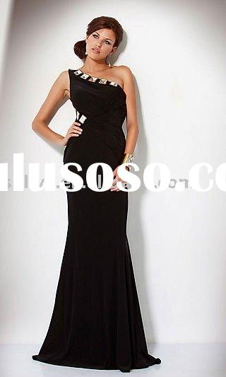 2011 Hot Sale Cheap Wholesale one shoulder rushed Prom Evening/Party Dresses/Gowns wlf548