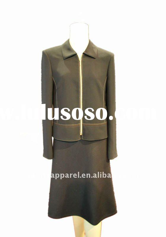 2011 fashionable viscose skirt suit with long sleeve woman suit