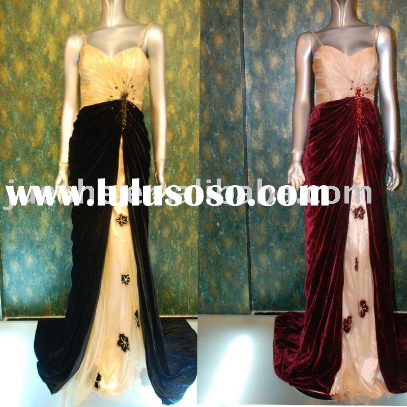 2011 new collection velvet evening dress 5613