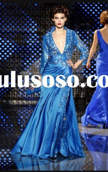 2011 retail latest blue Satin Long sleeve evening dress wlf789