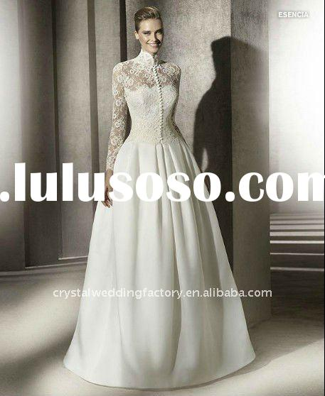 2012 long sleeve lace beaded ball gown skirt custom-made chapel train wedding dress CWFaw3519