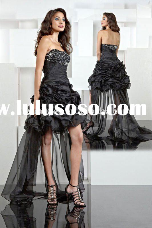 2012 new style cheap off shoulder front short and long back formal evening dress(EVED10007)