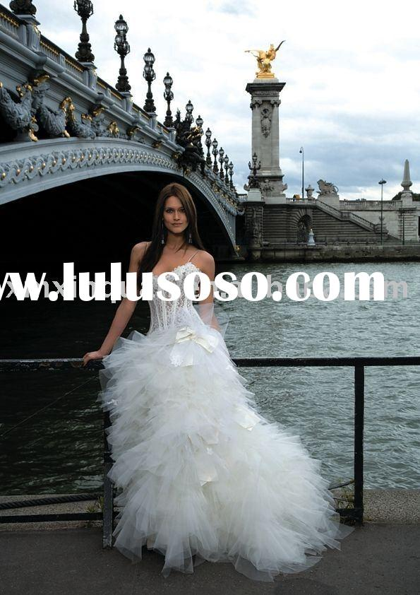AW297 Unique ruffled ball gown transparent lace bodice wedding dress china