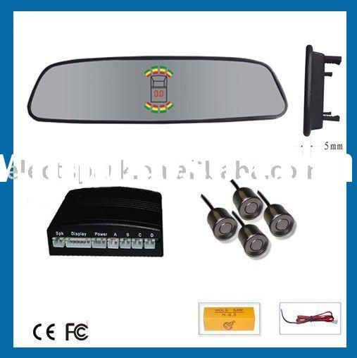 Auto rear view mirror LED reverse parking sensor system