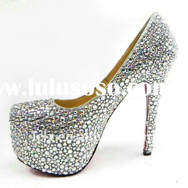Beautiful silver colorful diamond evening dress bridal shoes CLF045 free shipping
