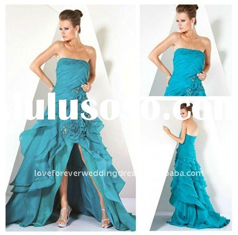 Blue Organza Elegant Prom and Evening Dresses 2012