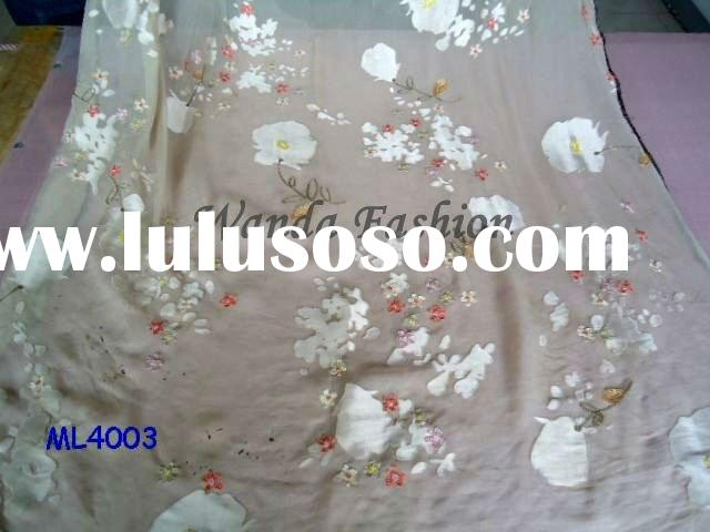 Burn-out Flower Embroidered Silk fabric