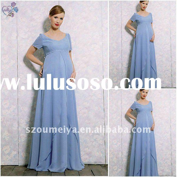 Chiffon Pregnant Evening Gowns with Short Sleeve