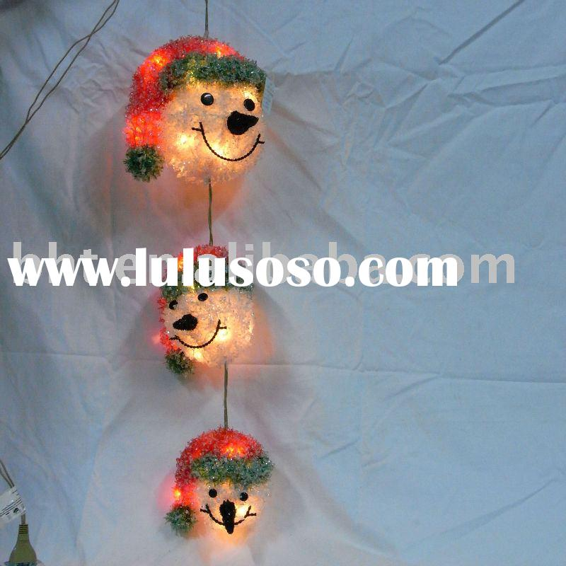 Christmas decoration of hanging snowman's heads with PVC ice crystal and lights