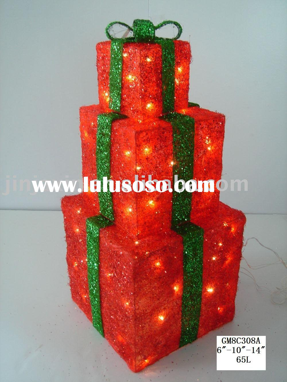 Lighted Gift Boxes Christmas Decorations Christmas Gift Box With Lights
