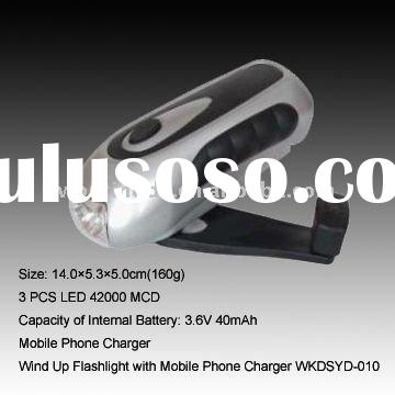 Compact Wind up 3 LED Torch with charger for mobile phones