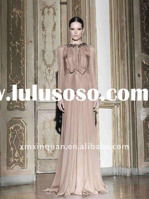 EL115 Simple long sleeve 2011 women's formal evening dresses with bow