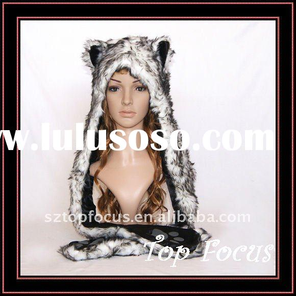 FAUX FUR ANIMAL HAT WITH LONG MITTENS SERBIAN WOLF