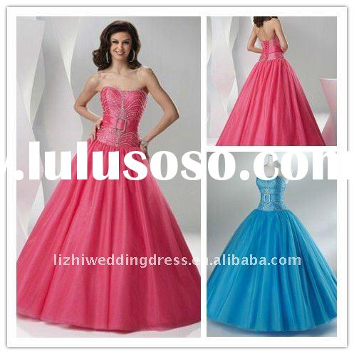 FP035 strapless name brand party dress for women 2012 custom made prom dress cheap