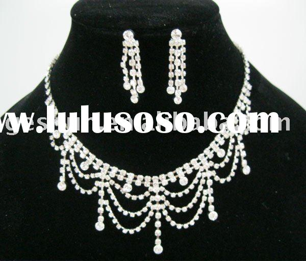 Fashion alloy evening dress necklaces wedding necklace set with earrings