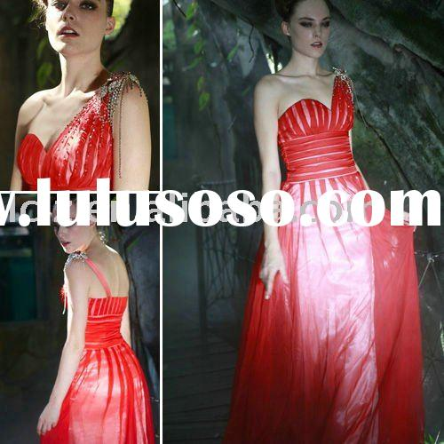 Formal evening dress C56353 one-shoulder red long satin dresses