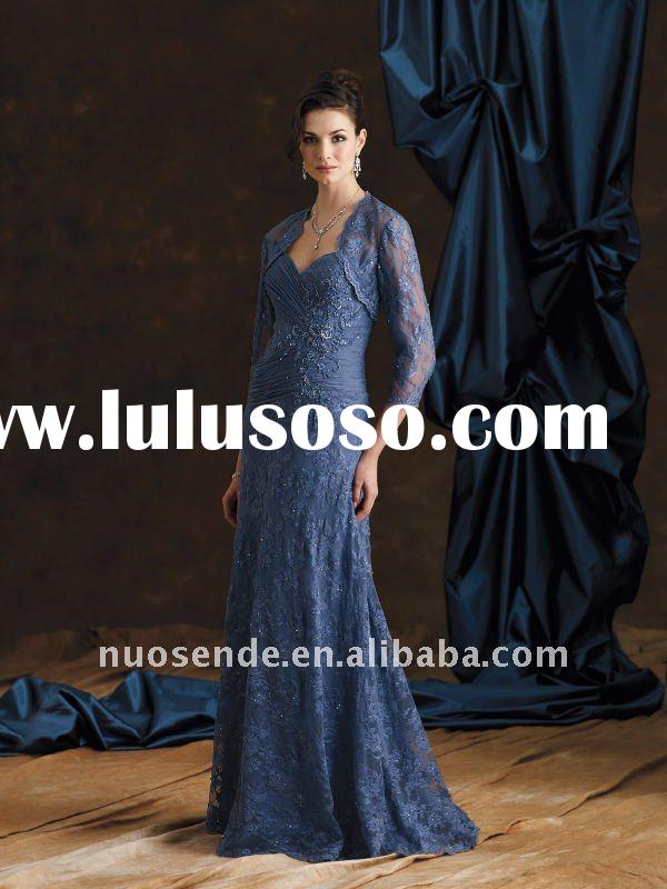 Free Shipping long sleeve evening dress mother of the bride lace dresses arabic evening dress