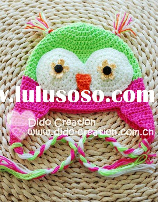 H05C035E1 Hand fashion Crochet Baby kufi Hats cap Beanie flower animal new born baby gifts earflap