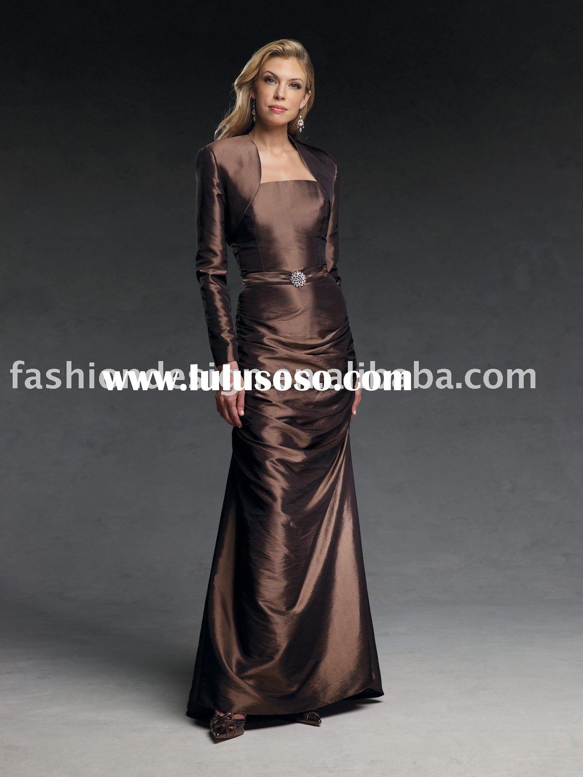 Hot selling Elegant taffeta Mother of brides dresses with jacket,mother evening dresses,prom dresses