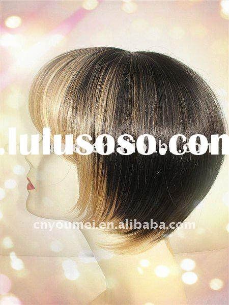 Human hair short full lace wig
