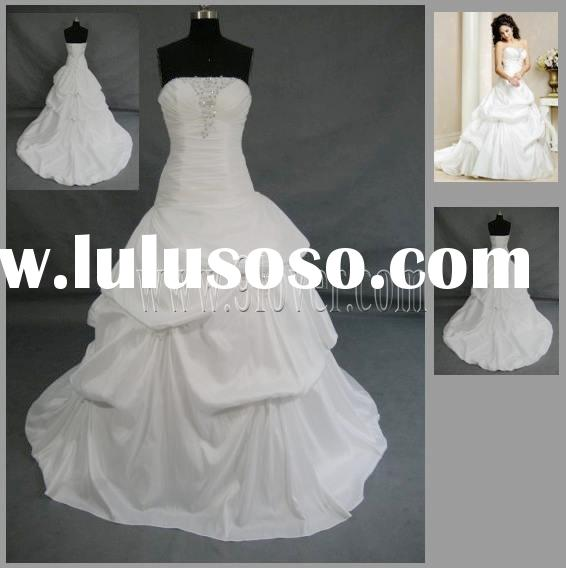 Ivory Strapless Beading Taffeta Wedding Dress\Lace-up Back\Pick up Skirt\Bridal Gown