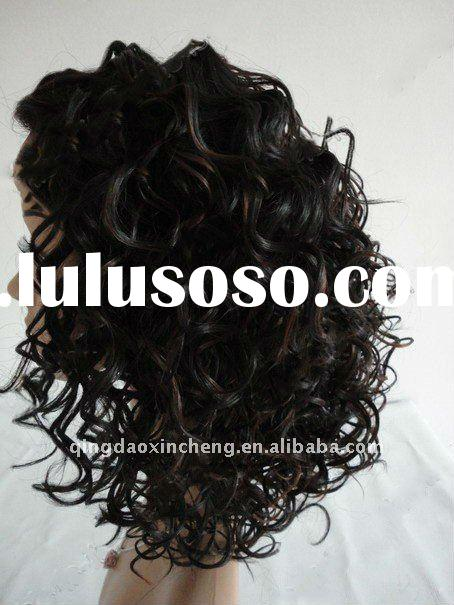 Kinky curl indian remy full lace wig for African American wig