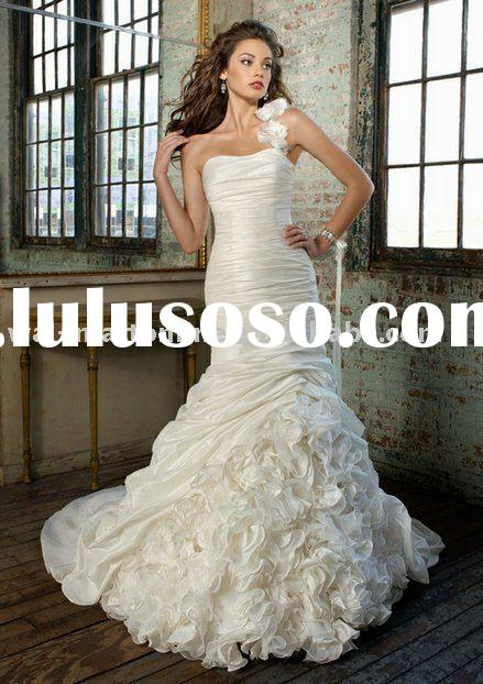 ML365 Ruffled One Shoulder Unique Mermaid Wedding Dress 2012