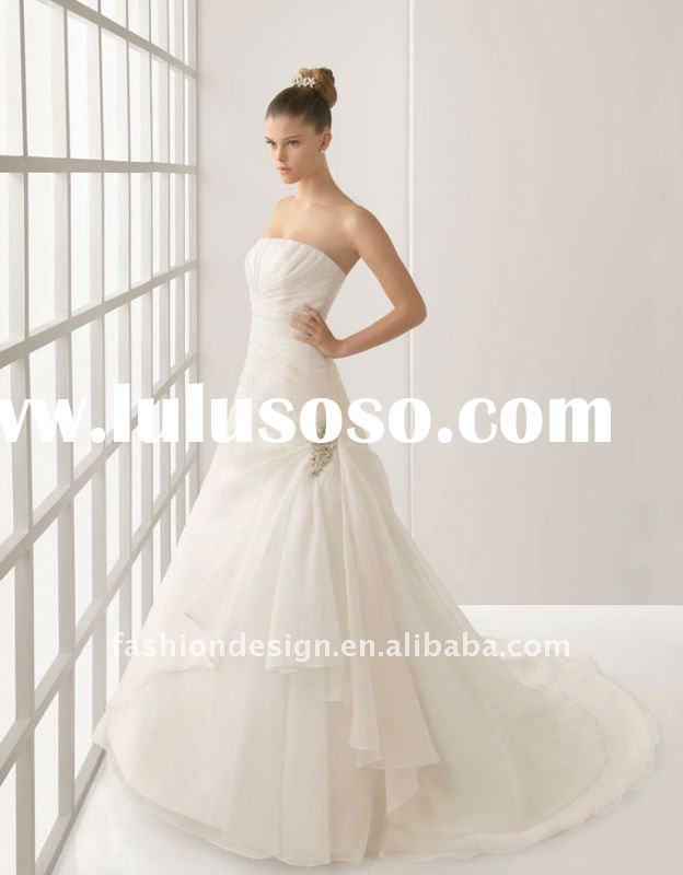 NEW076 2012 modern strapless plain ivory organza with long trail wedding dress