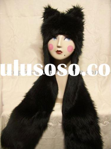 NEW PLUSH ANIMAL HAT FAUX FUR WOLF HAT WITH SCARF EARS PAW POCKETS