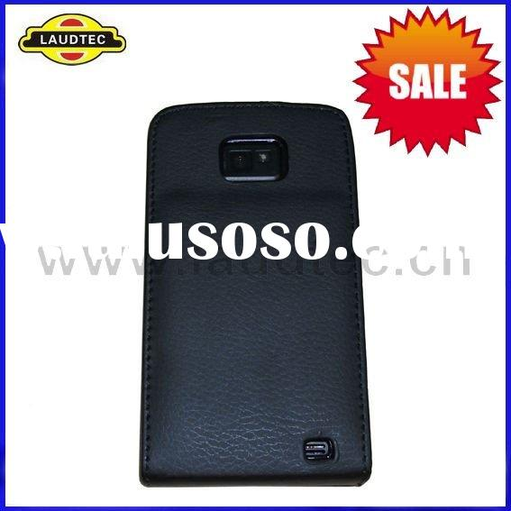 New Arrival Black Leather Flip Case for Samsung I9100 Galaxy S2