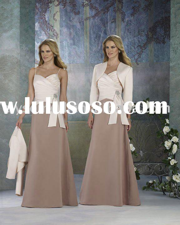 New Arrival Elegant Long Champagne and Beige Satin Formal Mother of the Bride Dress with Jacket