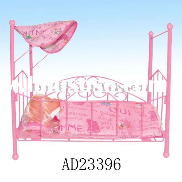 Plastic pink baby toy doll bed